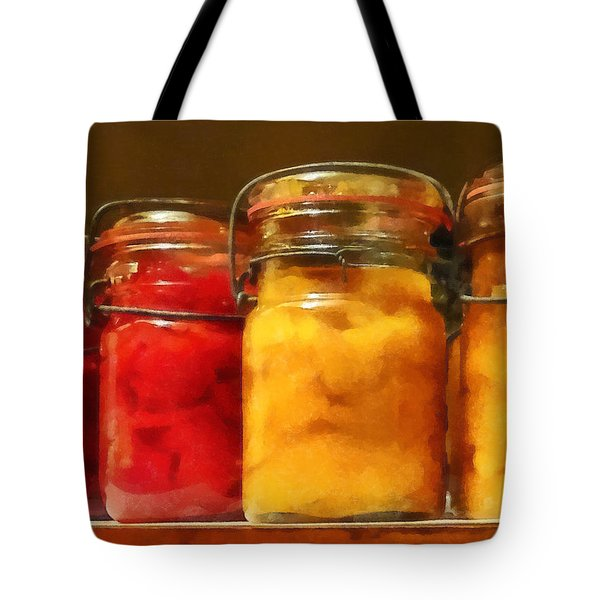 Canning Jars Of Tomatoes And Peaches Tote Bag by Susan Savad