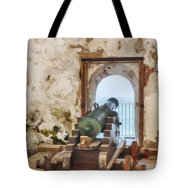 Tote Bag featuring the photograph Cannon At Fort San Felipe Del Morro by Bryan Mullennix