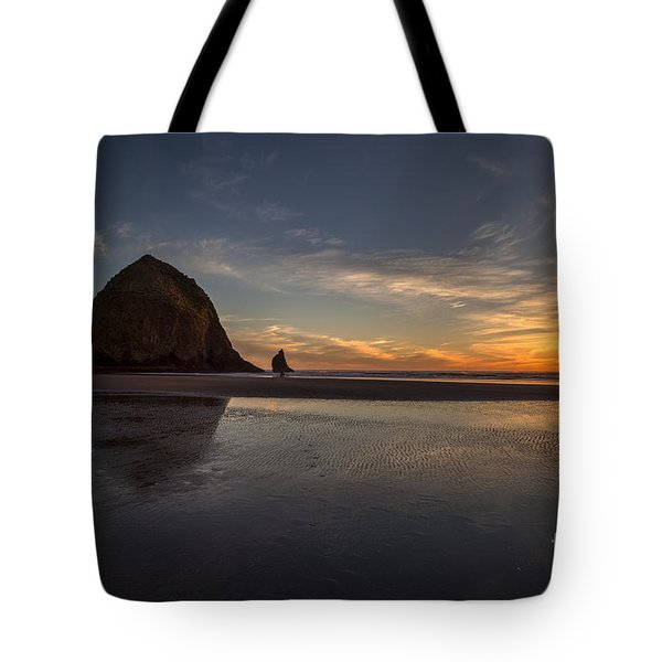 Cannon Beach Dusk Conclusion Tote Bag by Mike Reid