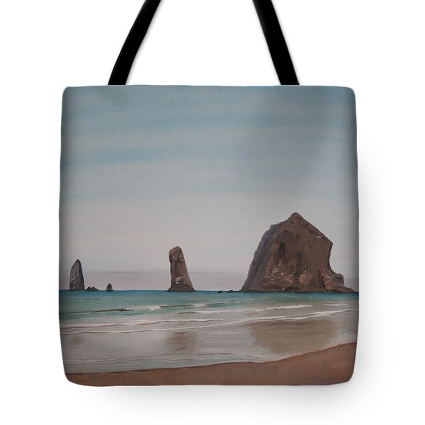 Tote Bag featuring the painting Cannon Beach Haystack Rock by Ian Donley