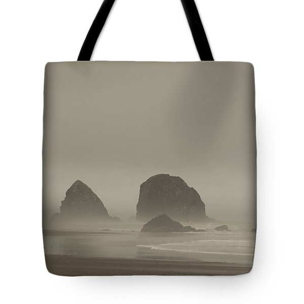 Cannon Beach In A Fog Oregon Tote Bag