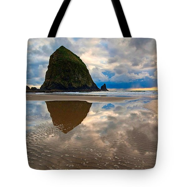 Cannon Beach With Storm Clouds In Oregon Coast Tote Bag by Jamie Pham