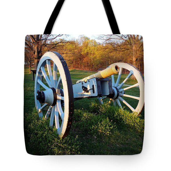 Cannon In The Grass Tote Bag by Michael Porchik