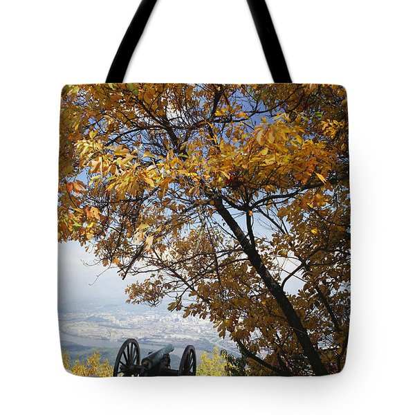 Cannon On Top Of Lookout Mountain Tote Bag by Bruce Roberts