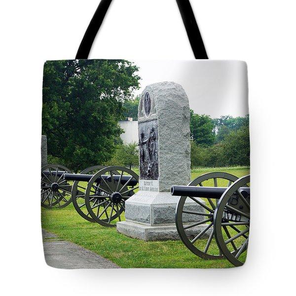 Cannons At Gettysburg Tote Bag by J Jaiam