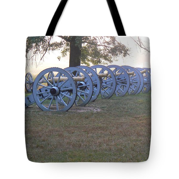 Cannon's In Fog Tote Bag by Michael Porchik
