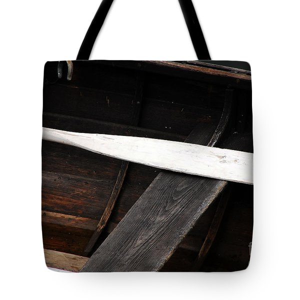 Tote Bag featuring the photograph Canoe And Oar by Mary Carol Story