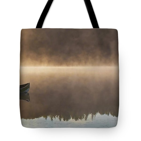 Canoeist On A Golden Misty Morning Tote Bag by Barbara McMahon