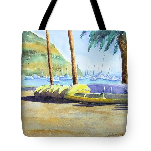 Canoes And Surfboards In The Morning Light - Catalina Tote Bag