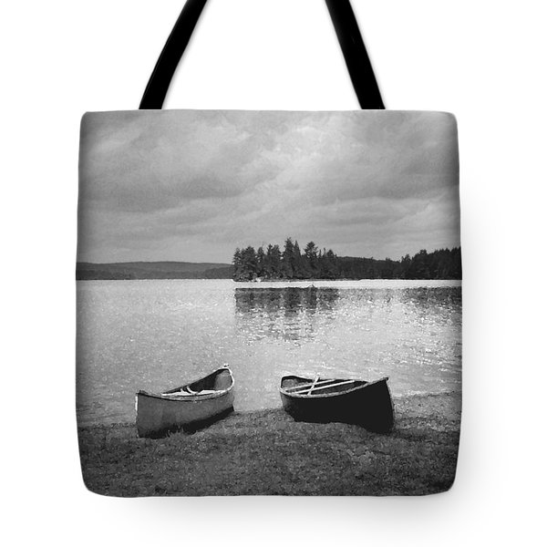 Canoes - Canisbay Lake - B N W Tote Bag