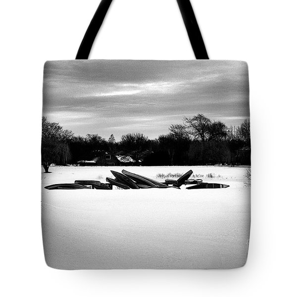 Canoes In The Snow - Monochrome Tote Bag