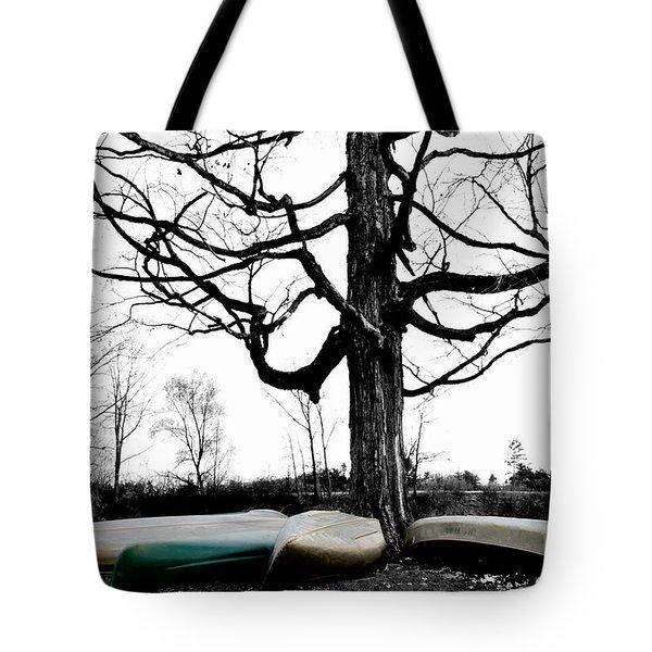 Canoes In Winter Tote Bag
