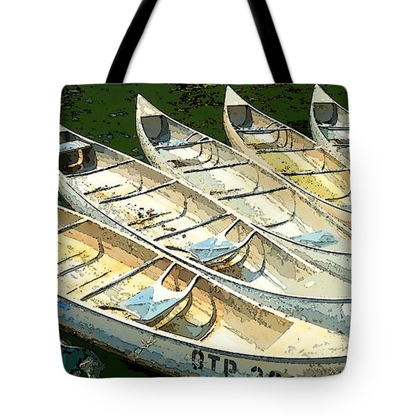 Tote Bag featuring the photograph Canoes by Sally Simon