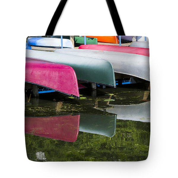 canoes - Lake Wingra - Madison  Tote Bag by Steven Ralser