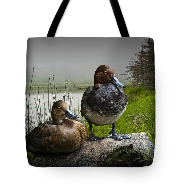Canvasback Duck Pair By A Pond Tote Bag