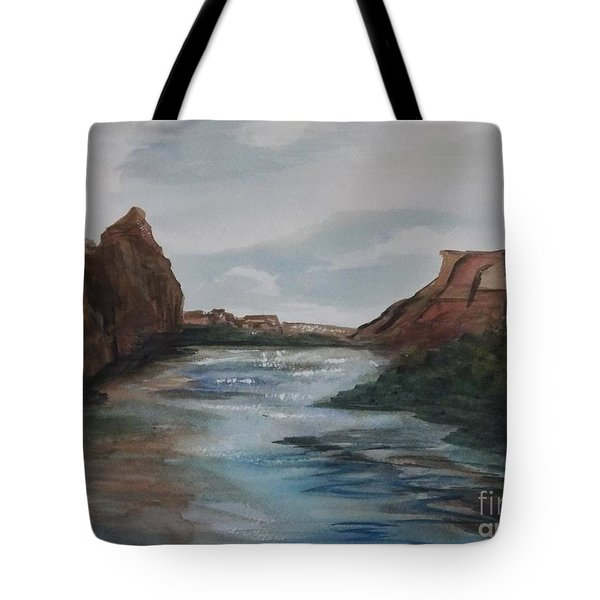 Tote Bag featuring the painting Canyon De Chelly by Ellen Levinson