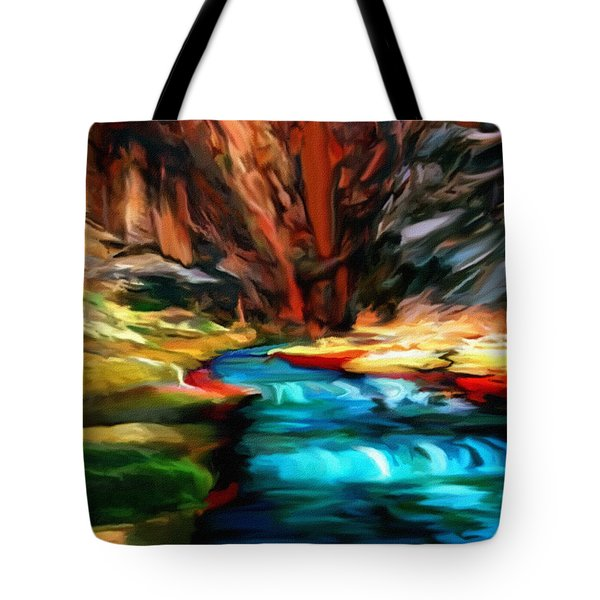 Canyon Waterfall Impressions Tote Bag