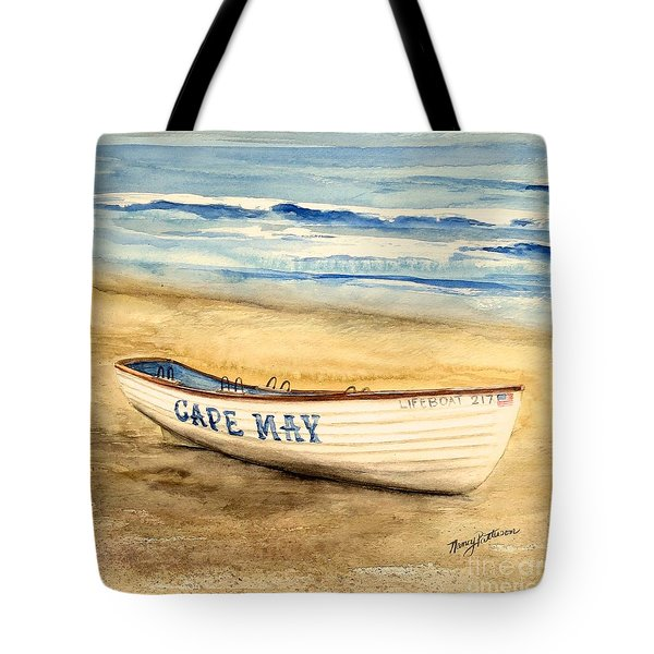 Cape May Lifeguard Boat - 2 Tote Bag by Nancy Patterson