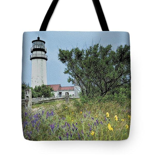 Cape Cod Lighthouse Tote Bag by John Haldane