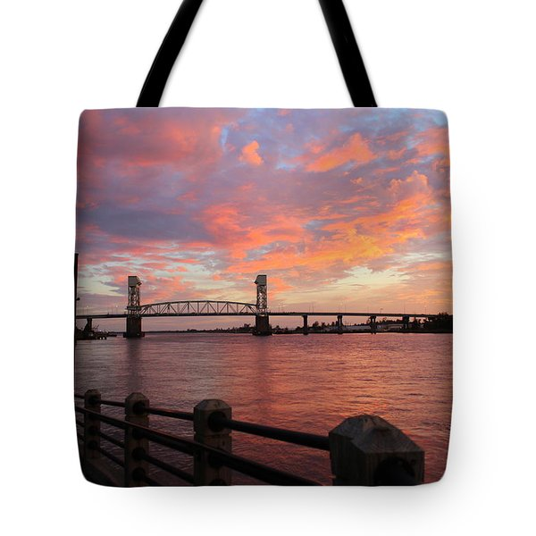 Cape Fear Bridge Tote Bag by Cynthia Guinn
