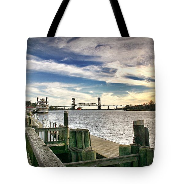 Tote Bag featuring the photograph Cape Fear Riverwalk by Phil Mancuso