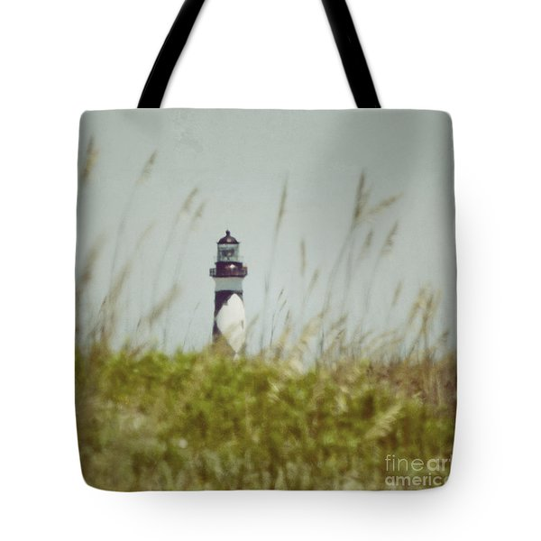 Tote Bag featuring the photograph Cape Lookout Lighthouse - Vintage by Kerri Farley