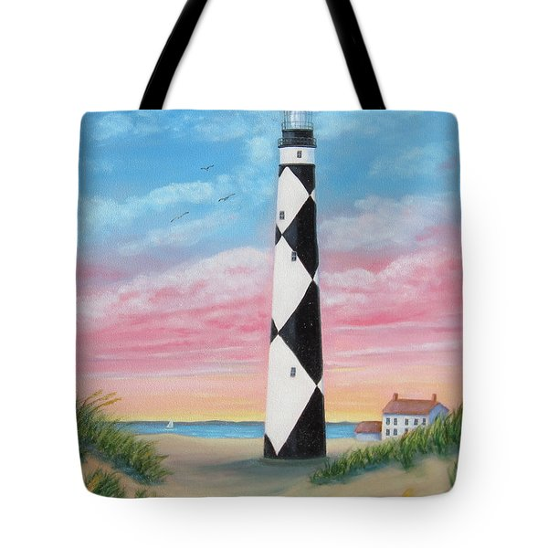 Tote Bag featuring the painting Cape Lookout Sunset by Fran Brooks