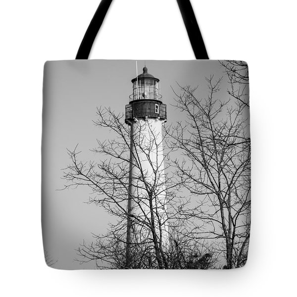 Cape May Light B/w Tote Bag
