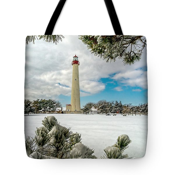 Cape May Light Thru Snowy Trees Tote Bag