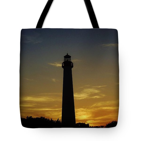 Cape May Lighthouse At Sunset Tote Bag by Ed Sweeney