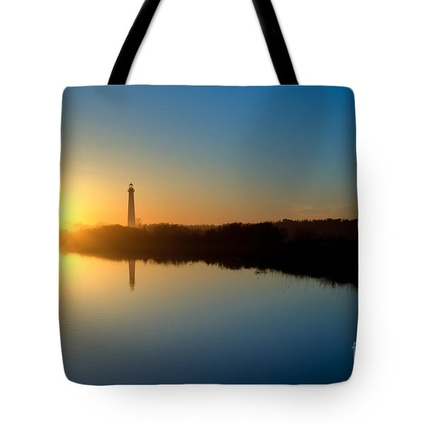 Cape May Nj Lighthouse At Sunset Tote Bag