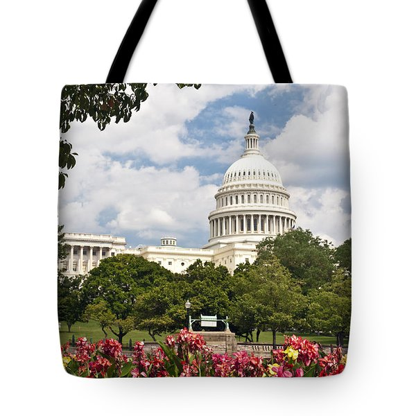 Capitol Buildingwashington Dc And Flower Garden Tote Bag