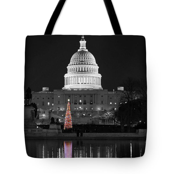 Tote Bag featuring the photograph Capitol Christmas by Shawn O'Brien