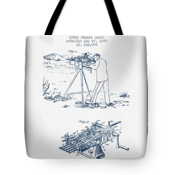 Capps Machine Gun Patent Drawing From 1899 -  Blue Ink Tote Bag