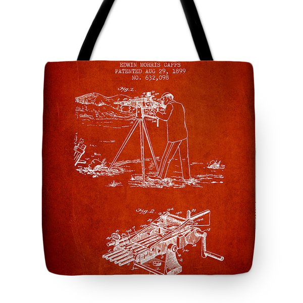 Capps Machine Gun Patent Drawing From 1899 - Red Tote Bag by Aged Pixel