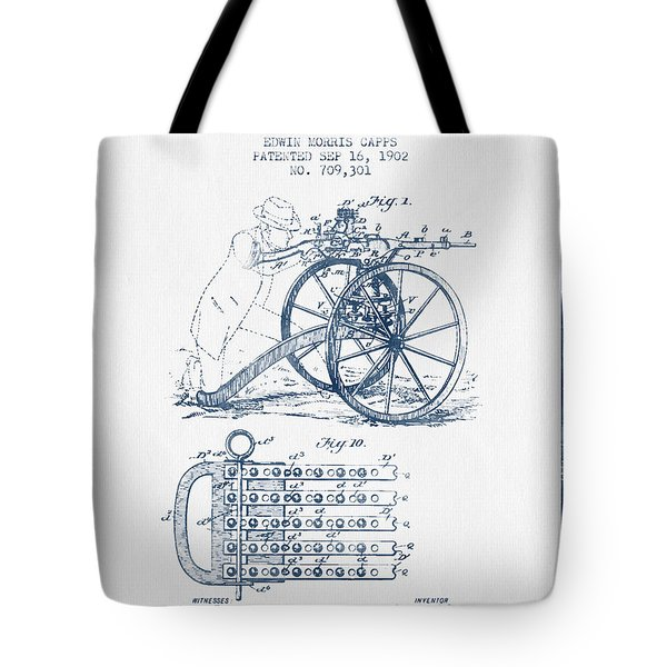 Capps Machine Gun Patent Drawing From 1902 -  Blue Ink Tote Bag