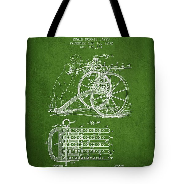 Capps Machine Gun Patent Drawing From 1902 - Green Tote Bag