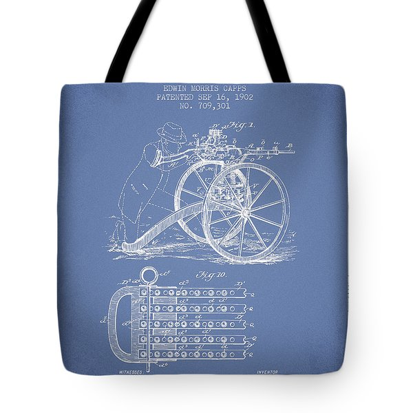 Capps Machine Gun Patent Drawing From 1902 - Light Blue Tote Bag by Aged Pixel