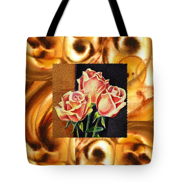 Cappuccino Abstract Collage French Roses Tote Bag by Irina Sztukowski