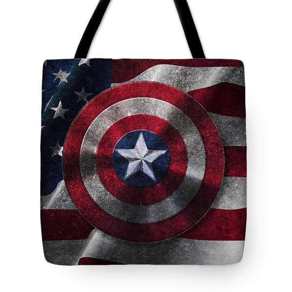Captain America Shield On Usa Flag Tote Bag