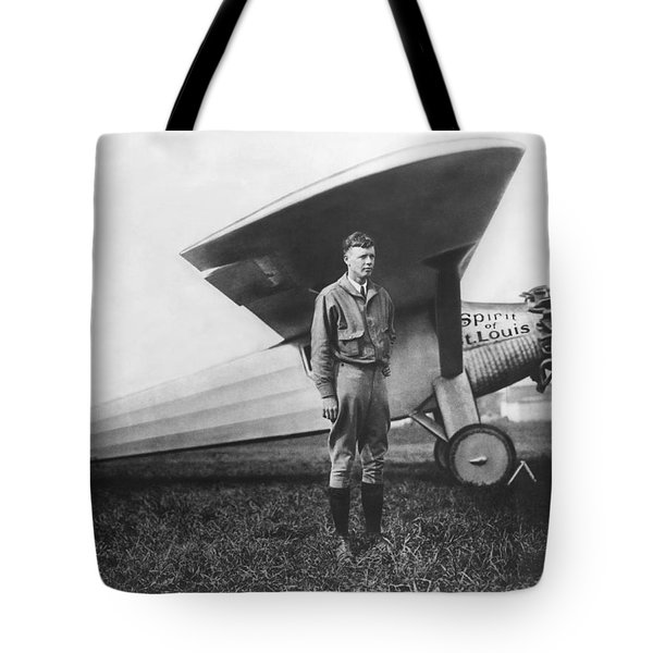 Captain Charles Lindbergh Tote Bag by Underwood Archives