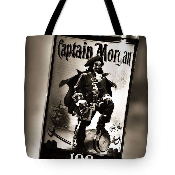 Captain Morgan Black And White Tote Bag