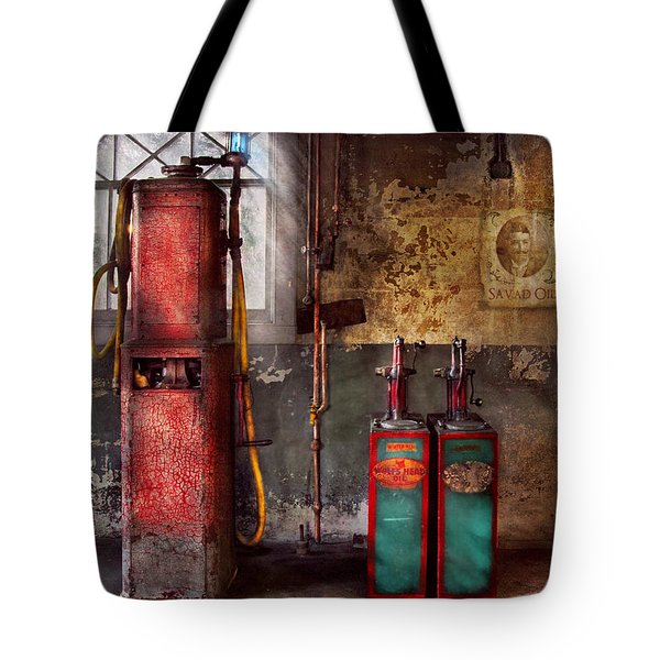 Car - Station - Gas Pumps Tote Bag by Mike Savad