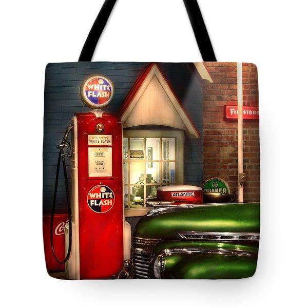 Car - Station - White Flash Gasoline Tote Bag