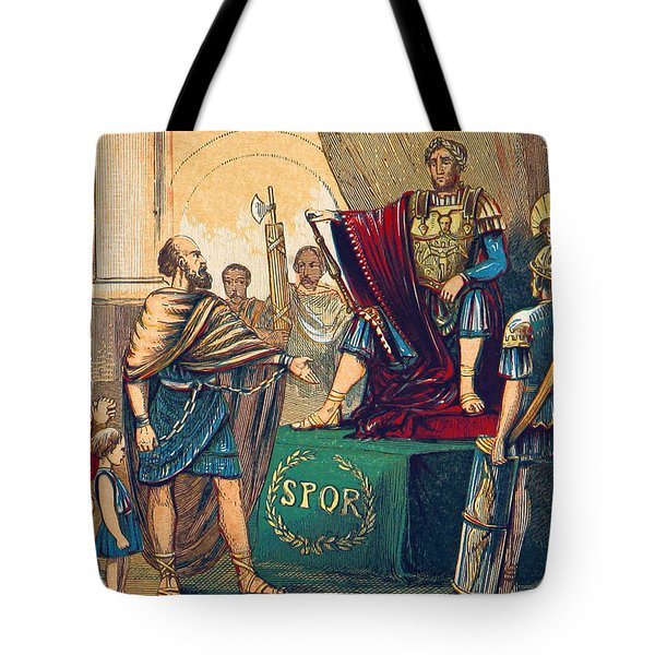 Tote Bag featuring the photograph Caractacus Before Emperor Claudius, 1st by British Library