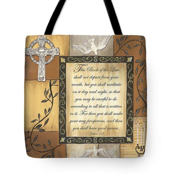 Caramel Scripture Tote Bag by Debbie DeWitt