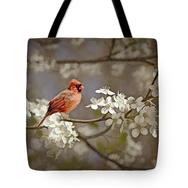 Cardinal And Blossoms Tote Bag by Bonnie Willis