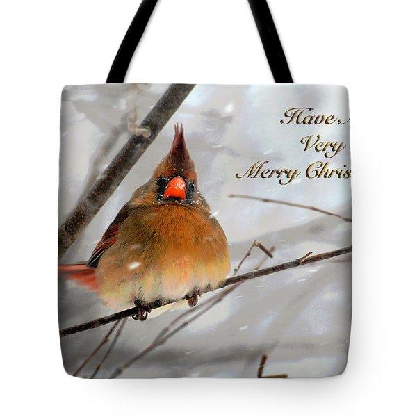 Cardinal In Snow Christmas Card Tote Bag