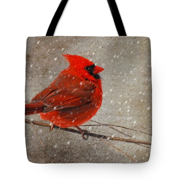 Cardinal In Snow Tote Bag