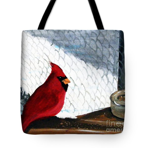 Cardinal In The Dogpound Tote Bag by Barbara Griffin